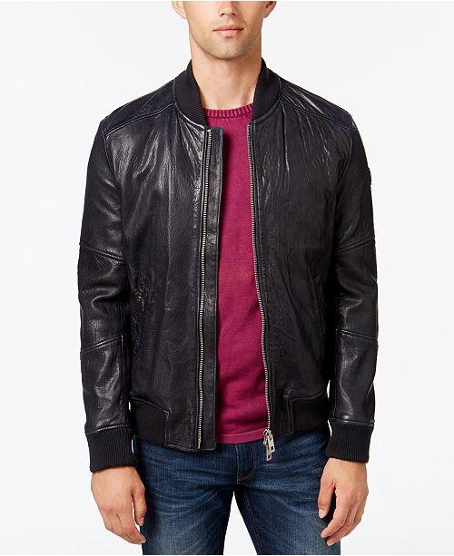 9cebaa359 Hugo Boss Men's Leather Bomber Jacket & Reviews - Coats & Jackets ...