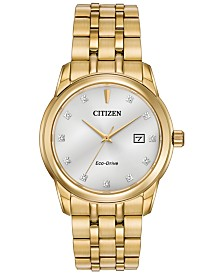 Citizen Men's Eco-Drive Diamond Accent Gold-Tone Stainless Steel Bracelet Watch 39mm BM7342-50A