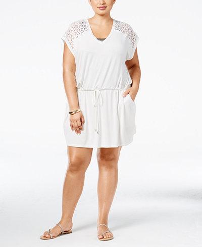 Calvin Klein Plus Size Crochet-Trim Cover-Up