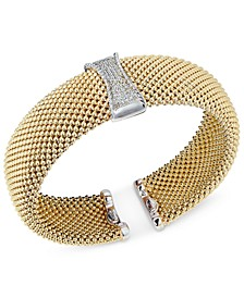 Diamond Mesh Hinged Bangle Bracelet (1/3 ct. t.w.) in 14k Gold-Plated Sterling Silver