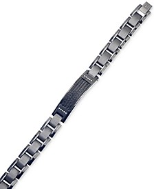 Diamond Accent ID Bracelet in Gunmetal and Black IP over Stainless Steel, Created for Macy's