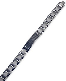 Esquire Men's Jewelry Diamond Accent ID Bracelet in Gunmetal and Black IP over Stainless Steel, Created for Macy's