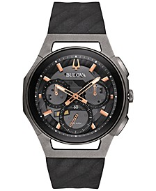 Men's Chronograph CURV Black Rubber Strap Watch 44mm 98A162