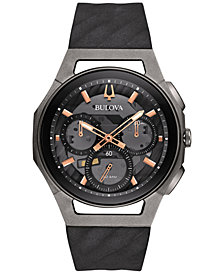 Bulova Men's Chronograph CURV Black Rubber Strap Watch 44mm 98A162