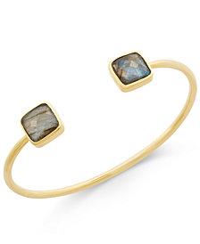 Paul & Pitü Naturally 14k Gold-Plated Labradorite Open Cuff Bracelet