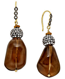 Paul & Pitü Naturally 14k Gold-Plated Smoky Quartz and Crystal Drop Earrings