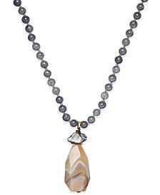 Paul & Pitü Naturally 14k Gold-Plated Agate and Quartz Pendant Necklace
