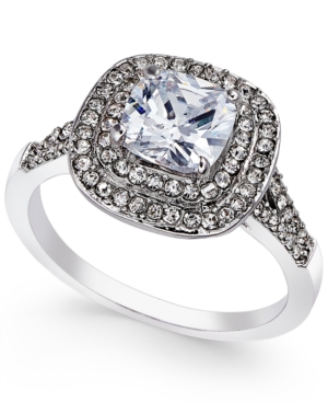 Charter Club Silver-Tone Double Halo Crystal Center Ring, On