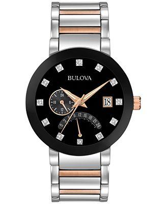 Bulova Men's Dual Time Diamond Accent Two-Tone Stainless Steel Bracelet Watch 44mm 98D129