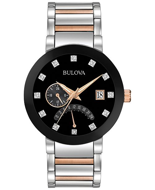 Bulova Men's Dual Time Diamond Accent Two-Tone Stainless Steel Bracelet Watch 44mm 98D129