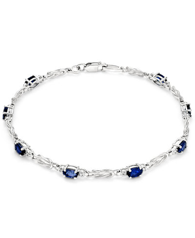 Sapphire (2-1/2 ct. t.w.) and Diamond (1/10 ct. t.w.) Link Bracelet in 14k White Gold