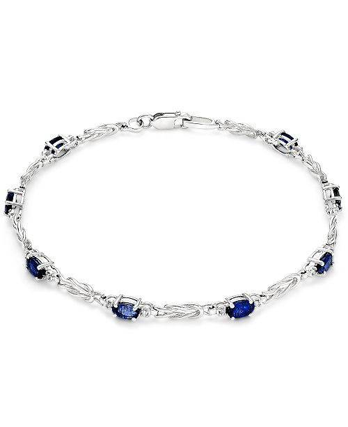 Macy's Sapphire (2-1/2 ct. t.w.) and Diamond (1/10 ct. t.w.) Link Bracelet in 14k White Gold