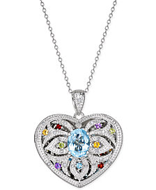 Multi-Gemstone (2 ct. t.w.) and Diamond (1/10 ct. t.w.) Filigree Locket Pendant Necklace in Sterling Silver