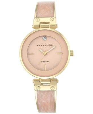 Image of Anne Klein Women's Diamond Accent Gold-Tone and Light Pink Bracelet Watch 34mm AK-2512LPGB