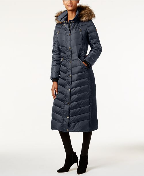 Michael Kors Petite Faux-Fur Hooded Maxi Down Coat