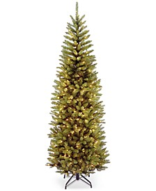 7' Kingswood White Fir Hinged Pencil Christmas Tree with 300 Clear Lights