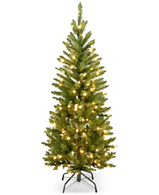 4.5' Kingswood Fir Hinged Pencil Christmas Tree with 150 Clear Lights