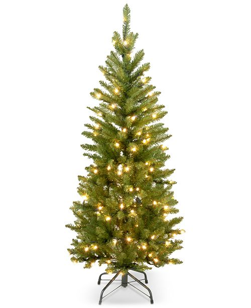 National Tree Company 4.5' Kingswood Fir Hinged Pencil Christmas Tree with 150 Clear Lights