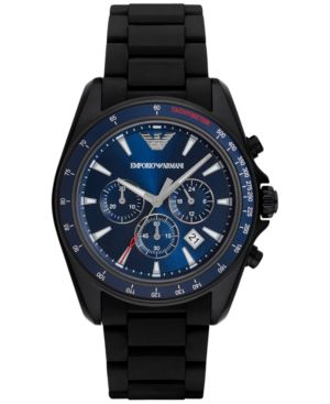 Emporio Armani Men's Chronograph Sigma Black Silicone Wrapped Stainless Steel Bracelet Watch 44mm AR6121 thumbnail