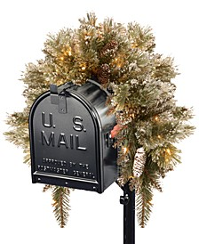 3' Glittery Bristle Pine Mailbox Swag with Battery Operated LED Lights and Timer