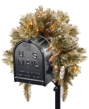 National Tree Company 3 Glittery Bristle Pine Mailbox Swag with Battery Operated Led Lights and Timer