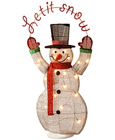 "36"" Silver Fabric Tinsel ""Let It Snow"" 2D Snowman with 20 Clear Lights"