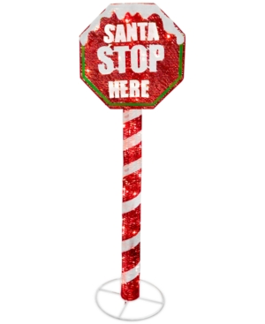 National Tree Company 60 Sisal Red Stop Sign Pole with 100 White Led Mini Lights