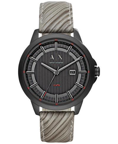 A|X Armani Exchange Men's Gray Leather Strap Watch 44mm AX2264