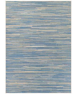 """Monaco Indoor/Outdoor Alassio Sand-Azure-Turquoise 2'3"""" x 7'10"""" Runner Area Rug"""