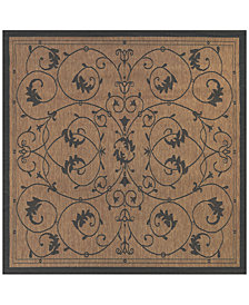 "CLOSEOUT! Couristan Recife Indoor/Outdoor Veranda Cocoa-Black 7'6"" Square Area Rug"