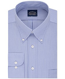 Men's Classic-Fit Stretch Collar Non-Iron Blue Stripe Dress Shirt