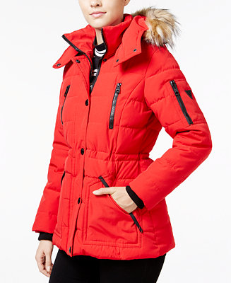 Guess Faux Fur Trim Hooded Puffer Coat Only At Macy S