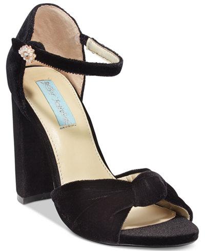 Blue By Betsey Johnson Ansly Velvet Ankle-Strap Sandals