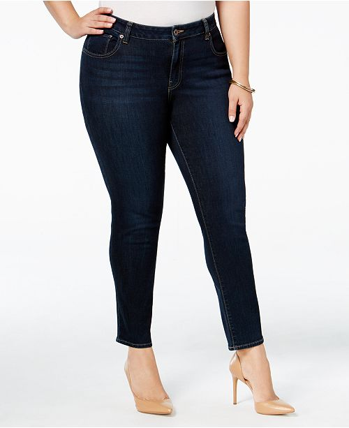 Lucky Brand Plus Size Ginger Navy Wash Skinny Jeans