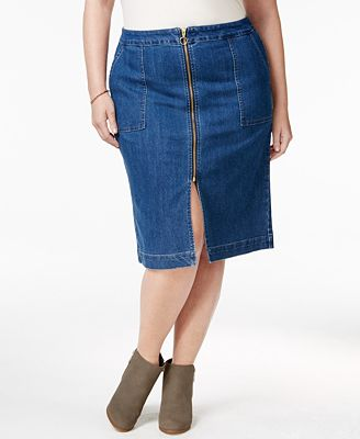 style co plus size zip front lake wash denim skirt only