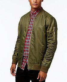 Jaywalker Men's Ruched Nylon Olive Bomber Jacket, Created for Macy's