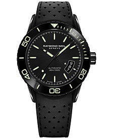 RAYMOND WEIL Men's Swiss Automatic Freelancer Black Rubber Strap Watch 43mm 2760-SB1-20001