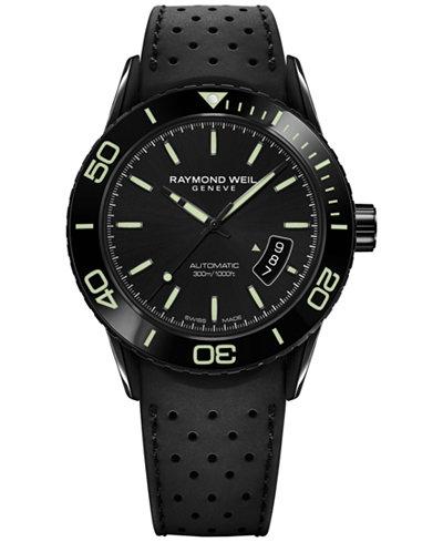 RAYMOND WEIL Men's Swiss Automatic Freelancer Black Rubber Strap Watch 43mm 2760-SB1-20001