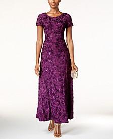 Petite Rosette Lace A-Line Gown