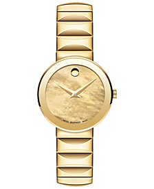 Movado Women's Swiss Sapphire Gold-Tone PVD Stainless Steel Bracelet Watch 26mm 0607049