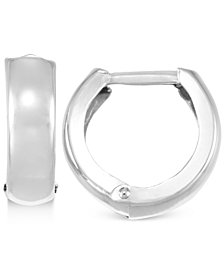 Polished Wide Huggy Hoop Earrings in 10k White Gold