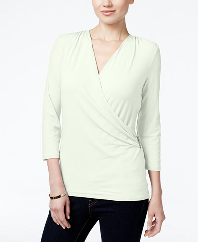 Charter Club Faux-Wrap Top, Created for Macy's