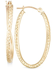Textured Twisted Oval Hoop Earrings in 10k Gold