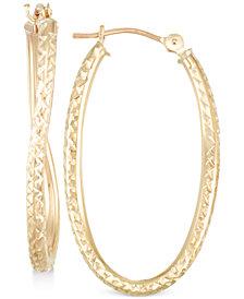 Textured Twisted Oval Hoop Earrings in 10k Gold
