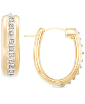 Signature Diamonds Oval Hoop Earrings in 14k Gold over Resin Core