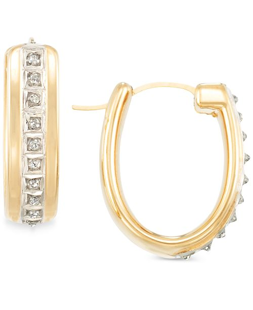 Signature Diamonds Oval Hoop Earrings in 14k Gold over Resin Core Diamond and Crystallized Diamond Dust
