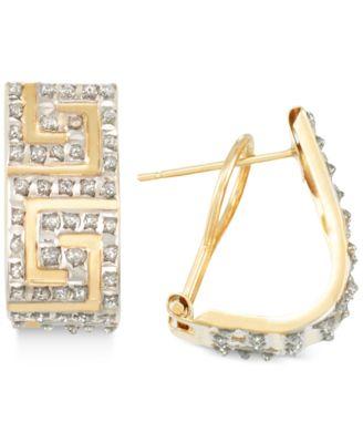 Diamond Accent Greek Key JHoop Earrings in 14k Gold over Resin Core
