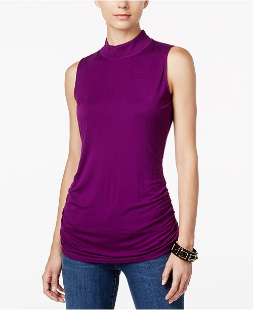 INC International Concepts I.N.C. Ruched Mock-Turtleneck Top, Created for Macy's
