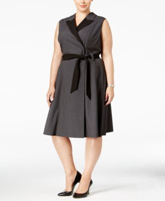Calvin Klein Plus Size Colorblocked Wrap Dress