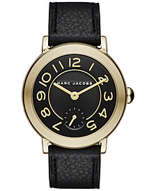 Marc Jacobs Women's Riley Black Leather Strap Watch 36mm